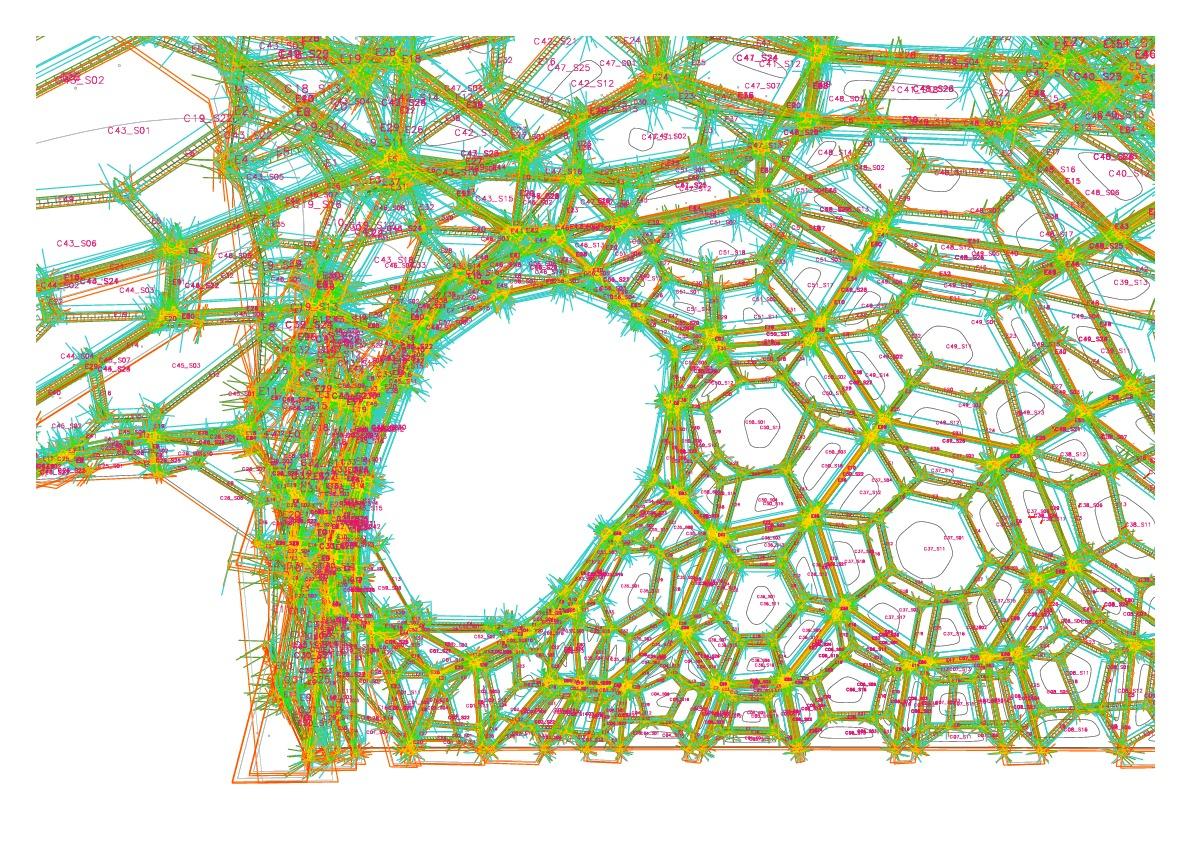 Perspektivische Ansicht der aus dem parametrischen Entwurfs- und Planungsmodell abgeleiteten Fertigungsinformation.